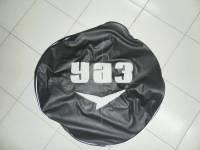 Чехол запасного колеса на УАЗ Хантер, 469, черный, винилкожа с логотипом УАЗ