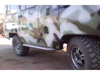 Комплект подножек - защита порогов на УАЗ 452 с защитой бензобаков