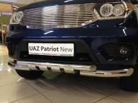 Передняя защита новый Уаз Патриот С Клыками(нерж)
